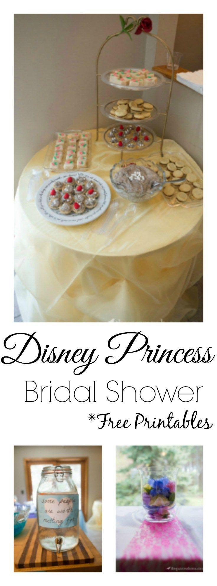 A Disney Princess themed bridal shower. Decorations, menu ideas and free printables!