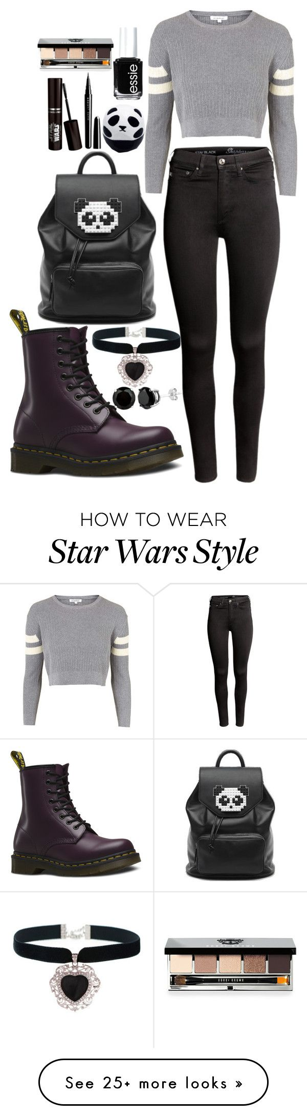 """Casual"" by chap15906248 on Polyvore featuring Topshop, H&M, Dr. Martens, Freddy, Rock 'N Rose, Eos, Marc Jacobs, Essie and Bobbi Brown Cosmetics"