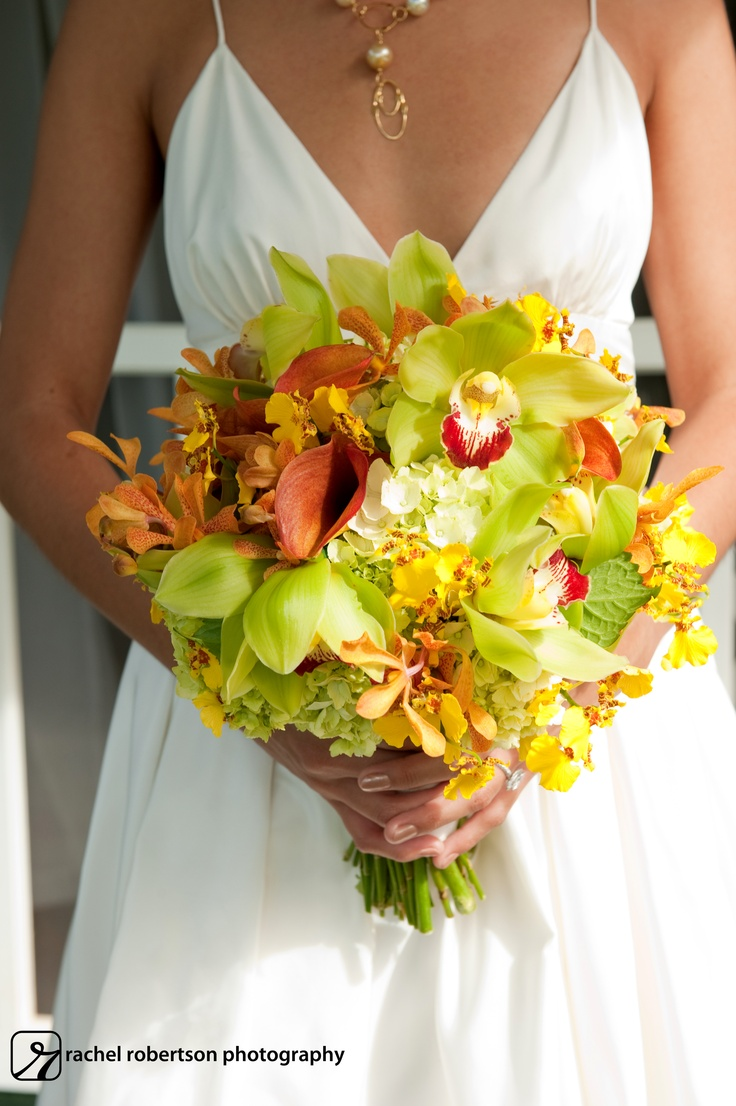 11 best bouquet images on pinterest bridal bouquets wedding lush green yellow and orange tropical orchid hawaiian bouquet izmirmasajfo