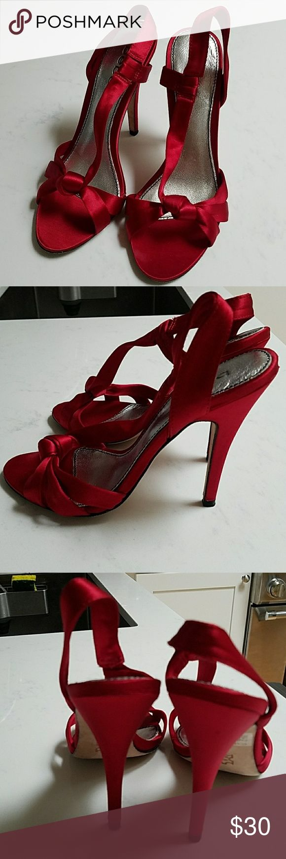 Bebe satin red slingback sandals sz 7 Beautiful, barely worn, satin red slingback sandals from Bebe. Knot detailing on the front. Bottom im very good condition. 4 inch heel. Box included. bebe Shoes Sandals