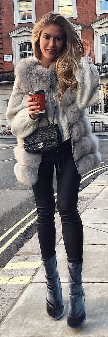 #winter #outfits gray fur coat, black sling bag, black jeans, and pair of black leather boots