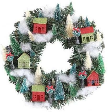 Christmas Glitter Village Wreath from TheHolidayBarn.com