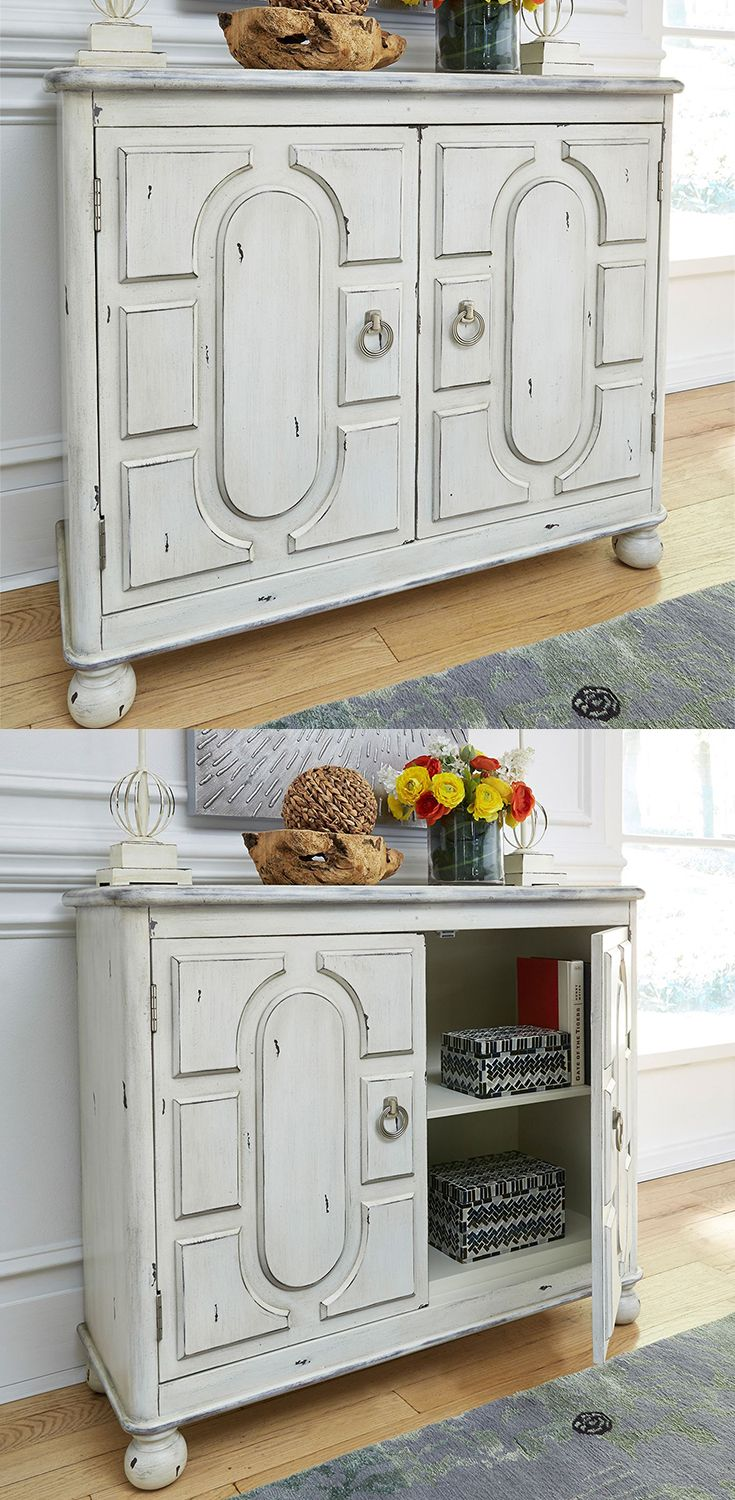 Add A Touch Of Relaxed Vintage Style To Your Living Room Or Entryway With This Two Door Accent Cabinet Accent Cabinet Accent Chests And Cabinets Accent Doors