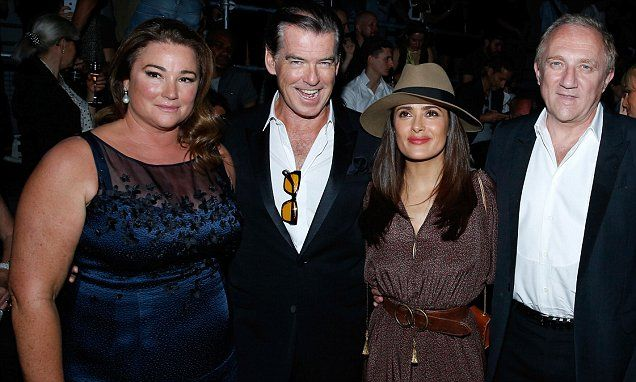 Double date night for Pierce Brosnan and Salma Hayek at fashion show