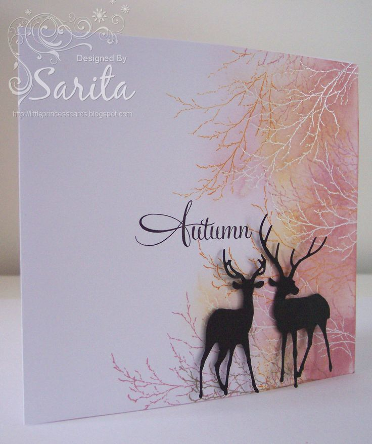 Handmade Autumn/fall card in orange and pink colours, sponge ink technique using Tim Holtz distress inks in Victorian Velvet and Wild Honey. Die cut deers by Impression Obsession.