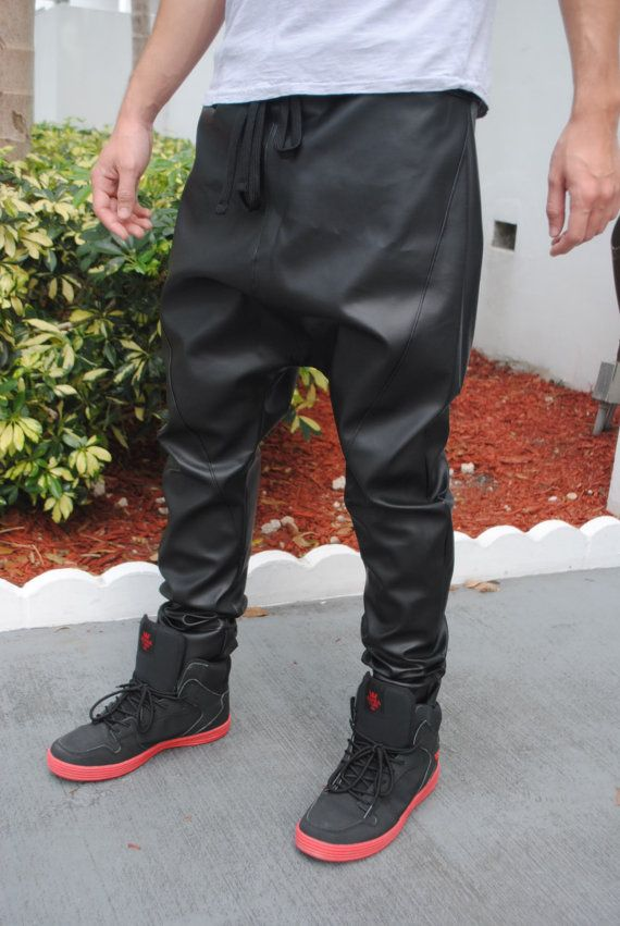 Handmade Black Faux Leather Drop Crotch  Harem by GAGONTHISTHREADS, $75.00