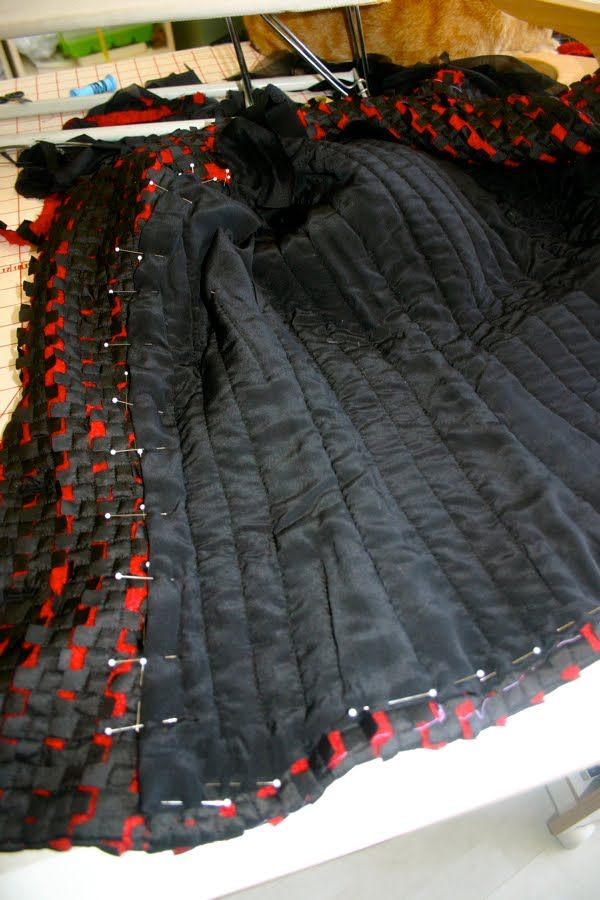 A few pictures of the process so far. It's the same as my other Chanel inspired jackets, but a very different fabric. A lot of extra steam p...