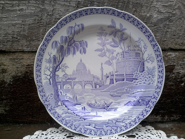 """Spode Archive Collection, Purple Dinner Plate, """"ROME""""  Made in England, English Transferware, Serving, Purple Transferware, Lavendar, Wall by CottonCreekCottage on Etsy"""