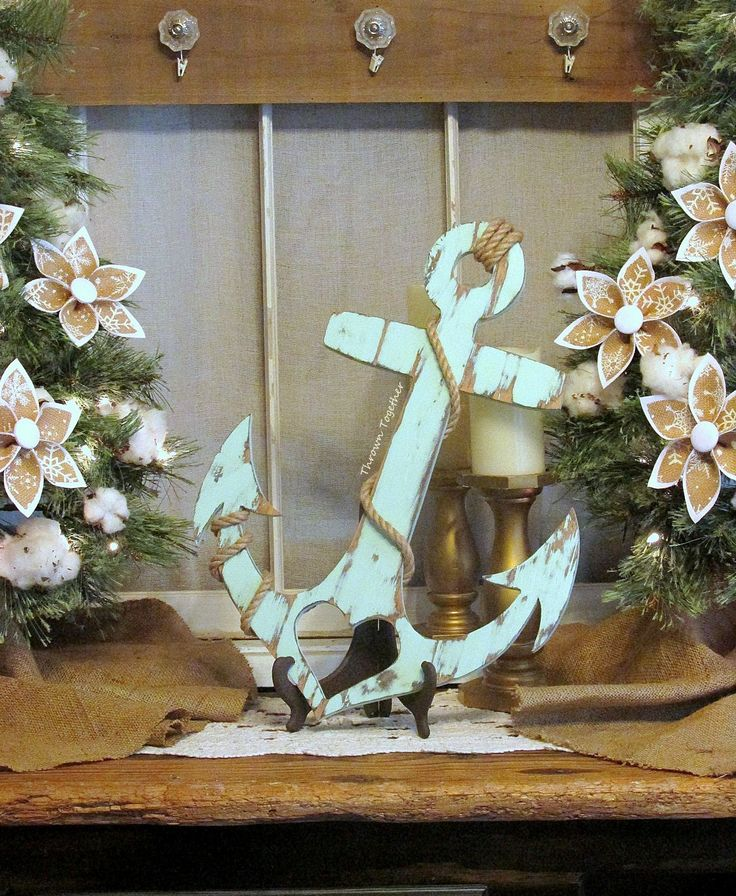 Anchor with Heart and Rope, Rustic Wood Wall Decor, Handmade 20