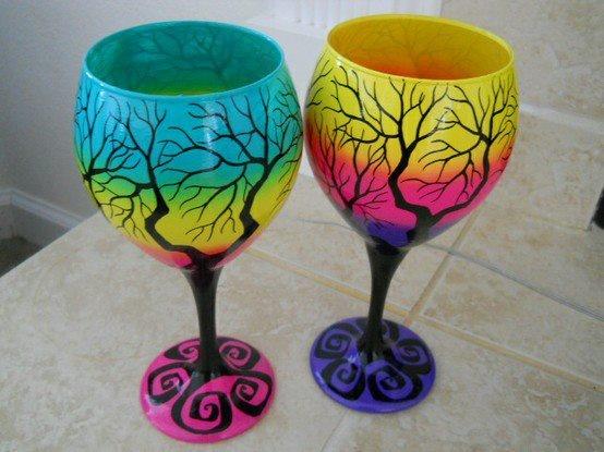 Funky tree wine glasses wine bottle paint 2 wine glasses - Funky champagne flutes ...
