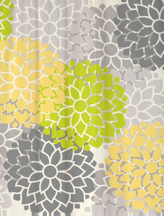 Shower Curtain Lime Green And Butter Yellow By Swirledpeasdesigns Bathroom Accessories
