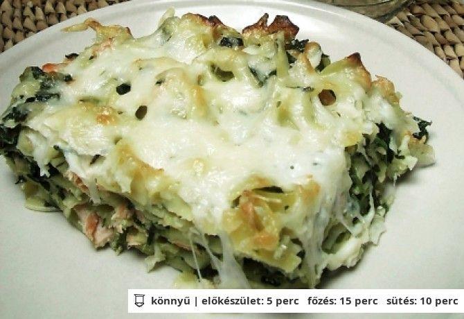 Spenótos-lazacos tészta