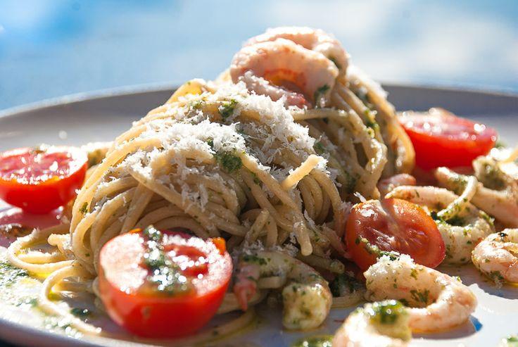Pasta pesto med reker - chezENGH