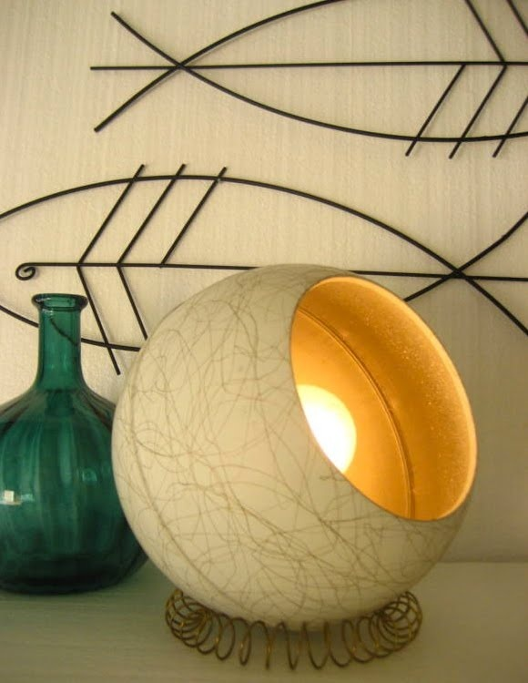 Atomic ranch house pair eames spaghetti globe lamps even though its a lamp the shape could be incorporated into a chair
