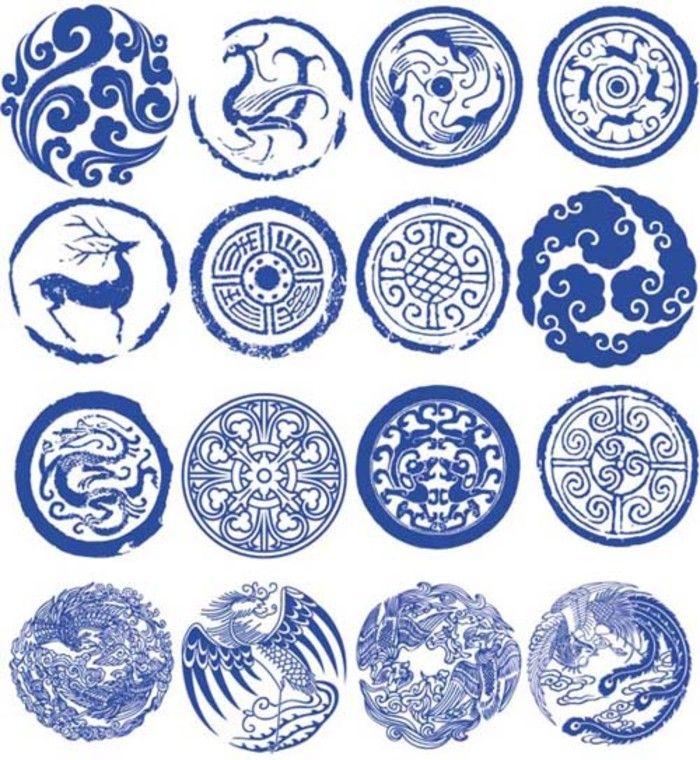 设计 青花瓷 印章 古典 图腾