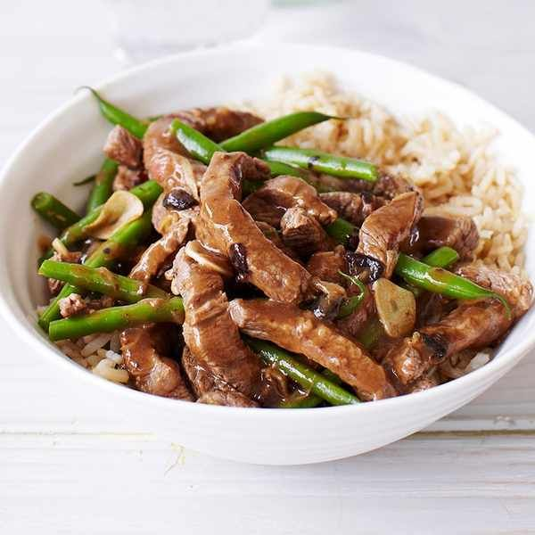 10-minute beef and black bean stir-fry