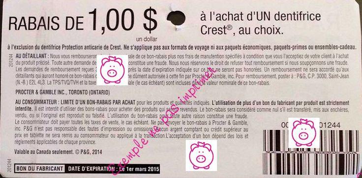 Coupons et autres liens - TP/EM - À l'achat d'un dentifrice Crest au Choix (sauf anti-carie) (1)