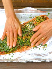 Salmon with Seville oranges, Tarragon, and Tea Leaves