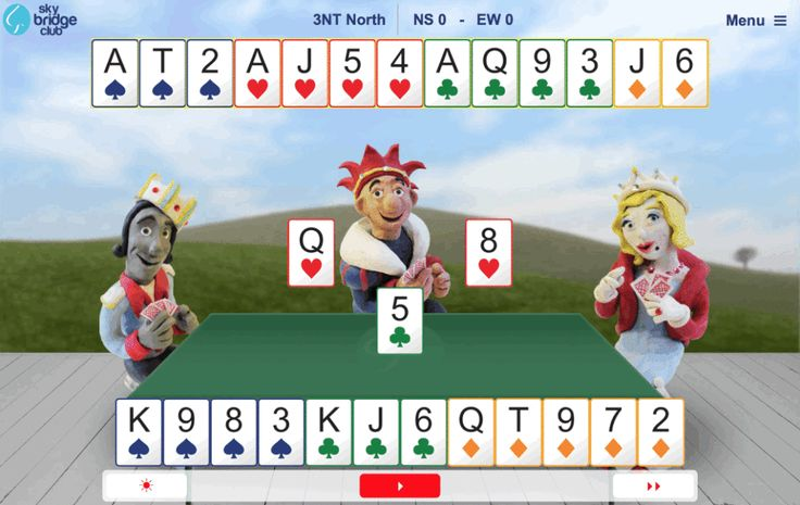 Play bridge online at Sky Bridge Club. Free bridge hands and video lessons. Play bridge on the iPad, computer, or phone. Upgrade for unlimited access.