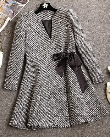 Autumn Winter Cute Tweed Coat V-neck Long-sleeve Flare A-line Avabe Knee-length Tweed Coat Outerwear with Bow Belt CT10728C