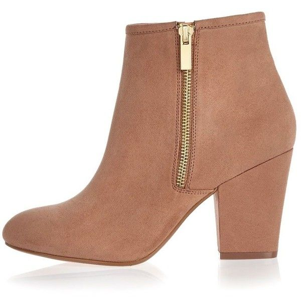 River Island Pink faux suede heeled ankle boots (£40) ❤ liked on Polyvore featuring shoes, boots, ankle booties, round toe ankle boots, round toe booties, high heel booties, bootie boots y pink booties