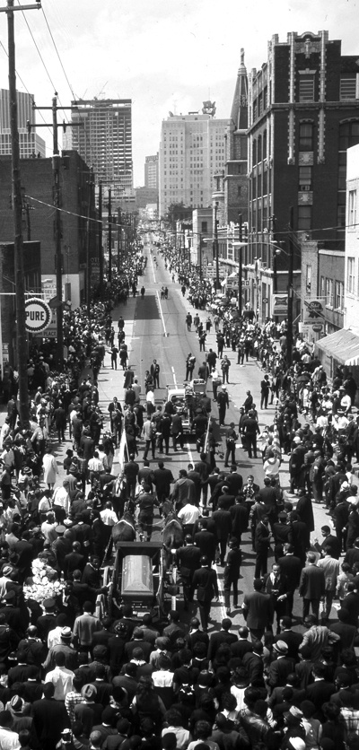Mourners gathered in Atlanta for the funeral of Martin Luther King, Jr. on April 9, 1968.