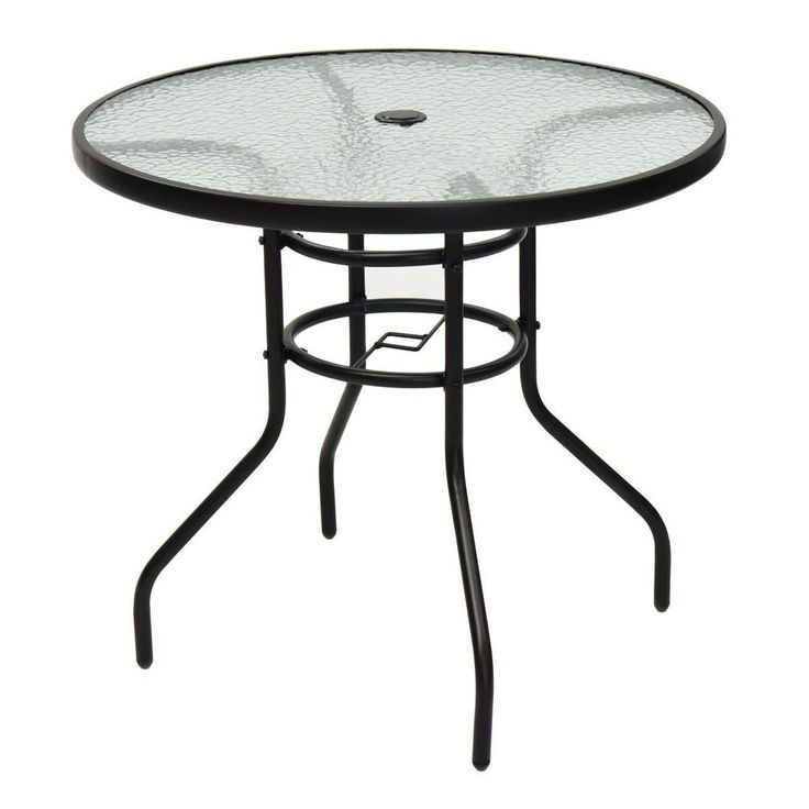 Patio Round Table Tempered Glass Steel Frame Outdoor Garden Furniture NEW #PatioRoundTable