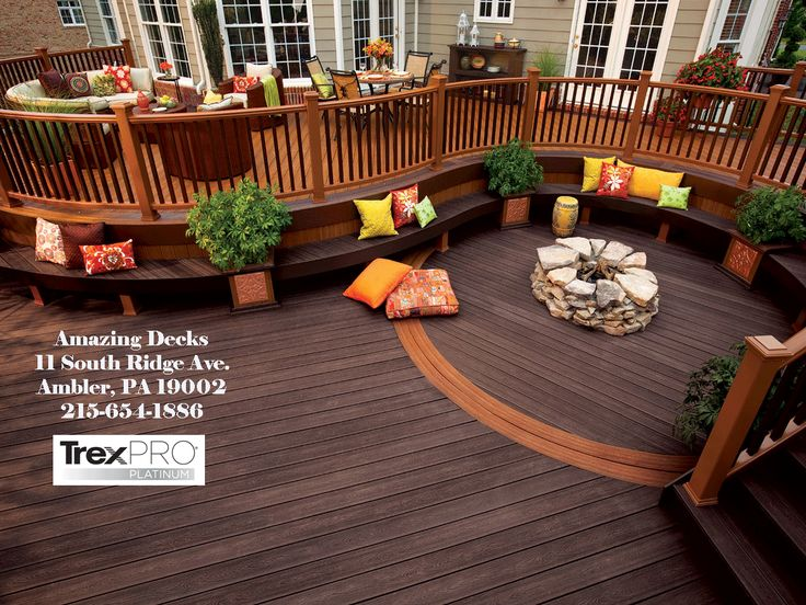 Like the wrap around upper deck framing the lower fire pit.: Fire Pit