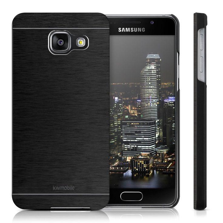 kwmobile Étui rigide haut de gamme pour Samsung Galaxy A3 (2016) avec renfort arrière en aluminium brossé en noir. Des housses de protection tendance fabriquées selon les normes qualitatives les plus élevées.