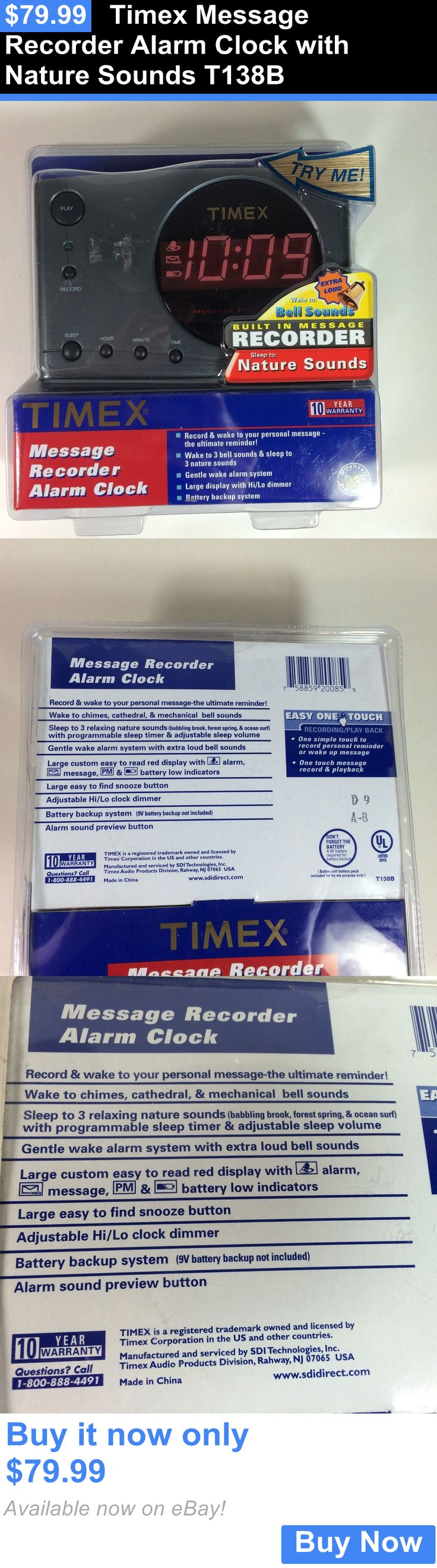Digital Clocks and Clock Radios: Timex Message Recorder Alarm Clock With Nature Sounds T138b BUY IT NOW ONLY: $79.99