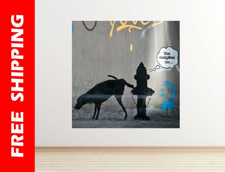 You Complete Me Banksy wall sticker dog pee wall decal graffiti banksy print graffiti street art Banksy wall art poster by Banksy 51 square by WallDecalsShop on Etsy
