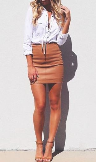 lace up blouse + bodycon mini skirt