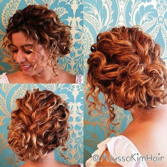 Best Hairstyle For Waves Curly Hair Up Short Wedding Hair Short Hair Updo