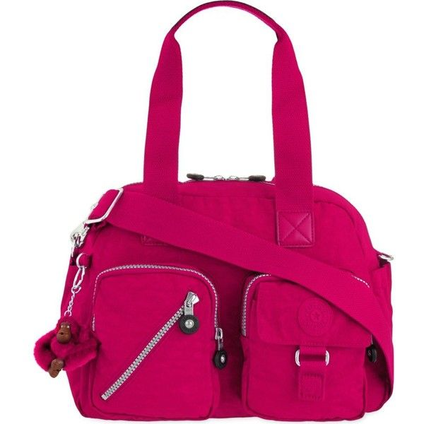 KIPLING Defea shoulder bag ($115) ❤ liked on Polyvore featuring bags, handbags, shoulder bags, flam pink, shoulder handbags, kipling purse, zipper purse, kipling handbags and shoulder bag handbag