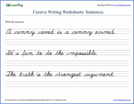 cursive handwriting worksheet on handwriting sentences writing reading pinterest cursive. Black Bedroom Furniture Sets. Home Design Ideas