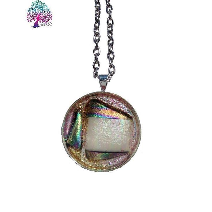 $20.00 Neck Art Pendant Round Pearl and Multicolour by NeckArt on Handmade Australia