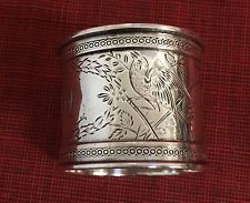 Antique ORNATE Sterling Silver VICTORIAN NAPKIN RING 1870-80 BIRD Aesthetic OLD