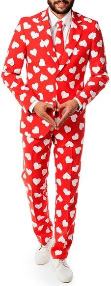 Mens Opposuits Mr. Lover Trim Fit Two Piece Suit With Tie $99.99 At Nordstrom Vibrant red & white heart-print two-piece suit, which includes a two-button suit jacket & trousers as well as a matching tie https://api.shopstyle.com/action/apiVisitRetailer?id=536030716&pid=uid841-37799971-81