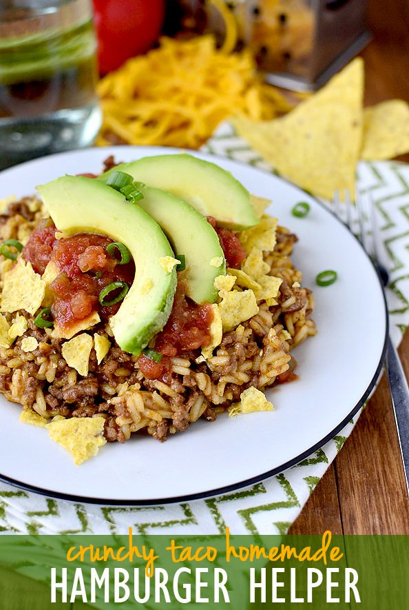 Gluten-free Homemade Crunchy Taco Hamburger Helper is hearty yet much healthier than the boxed version. Plus it's made in just 1 skillet and ready in 30 minutes. | iowagirleats.com