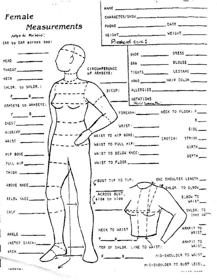 Female Measurements Sheet Sewing Measurements Dress Sewing Patterns Body Measurement Chart
