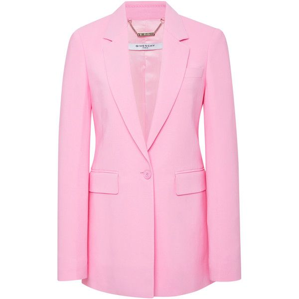 Givenchy Stretch-Cady Blazer ($2,345) ❤ liked on Polyvore featuring outerwear, jackets, blazers, pink, stretch jacket, blazer jacket, givenchy, pale pink jacket and one-button blazer