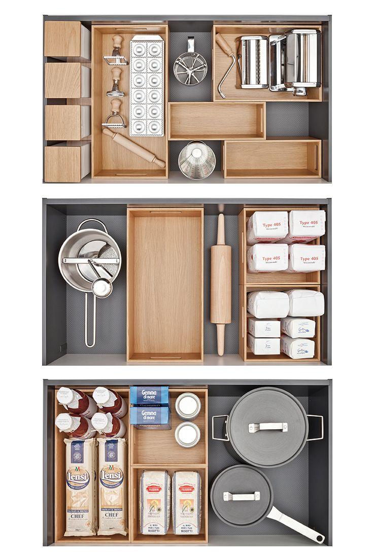 Das variable Ordnungssystem organisiert sämtliche Küchenutensilien