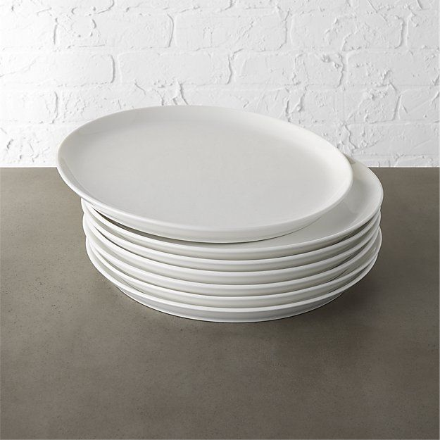 set of 8 contact white dinner plates | CB2