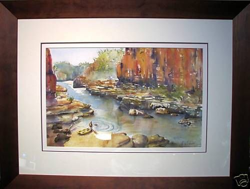 Kate Websdale original Australian watercolour titled  Canoeing the Gorge