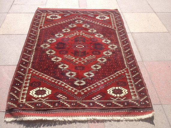 "Turkish Handmade Vintage west anatolian Bergama hand wowen wool on wool old carpet rug 38,5 "" by 49,2"" inches (98cm by 125cm)"