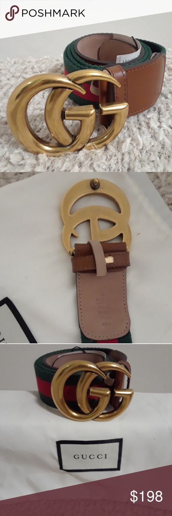 Brand new Gucci belt Brand new Gucci brown belt with double G gold buckle with red and green strips Gucci Accessories Belts