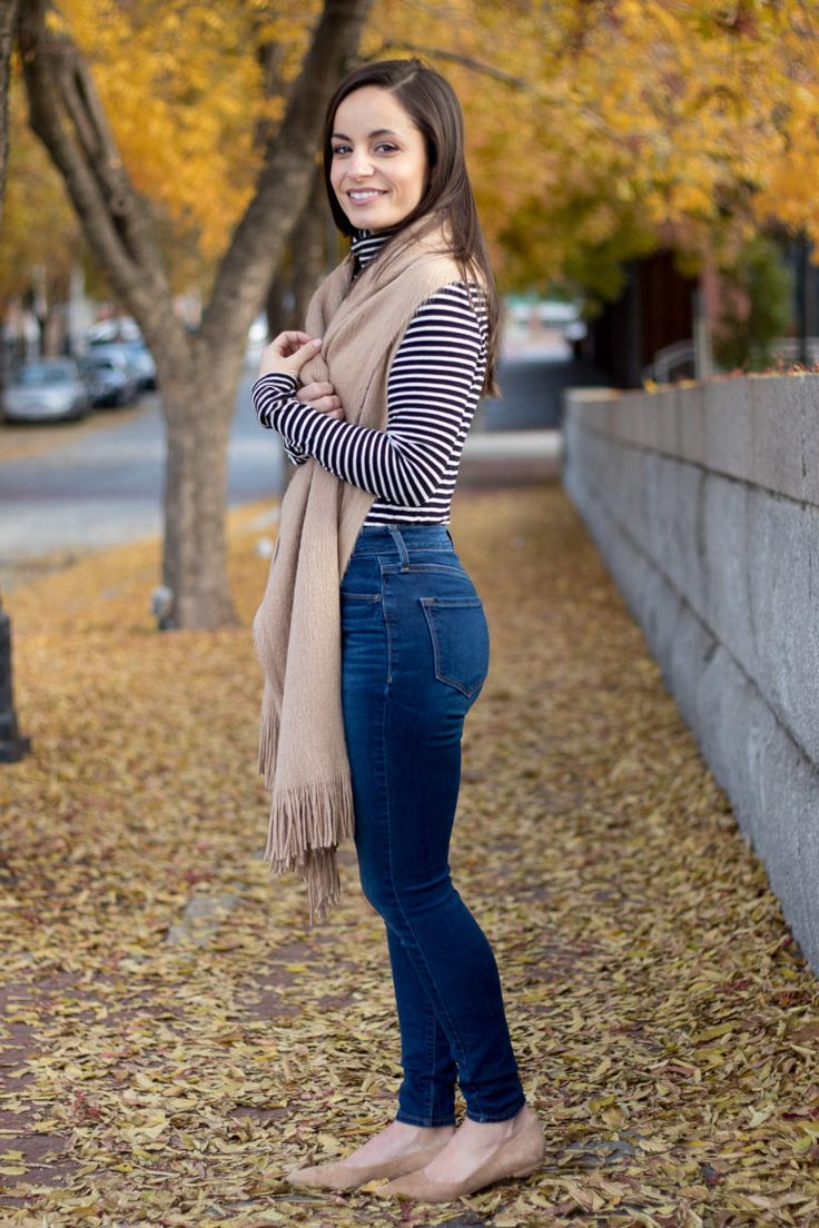 J crew tissue turtleneck t-shirt style with Old Navy High Rise Rockstar Jeans and Sam Edelman Rae Flats. H&M scarf. #fashion #winterfashion #fallfashion #oldnavy #styleblogger #petitefashion