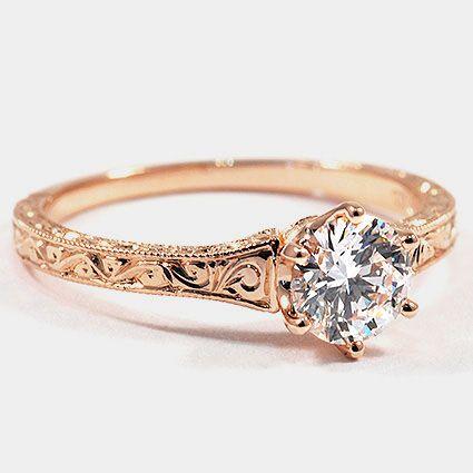 14K Rose Gold Hudson Ring // Set with a 0.63 Carat, Round, Super Ideal Cut, E Color, VS2 Clarity Diamond #BrilliantEarth