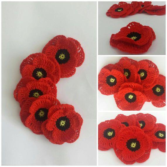Crochet poppy applique/scrapbooking setRemembrance day