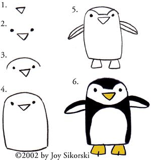 How to draw a penguin! For Karen and Sara